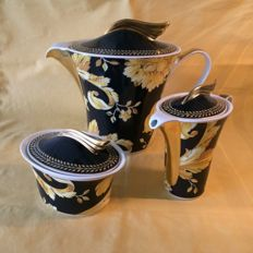 "Versace  ""Rosenthal""  Vanity (Barocco) thee service, Pot, suger bowl and milk jug."