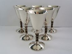 Falstaff - 6 x silver plated goblets / wine chalices