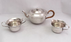 Silver Plated 3 Piece Tea Set With Rattan Handle Early 20th Century