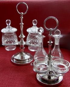 Christofle, oil and vinegar set accompanied by a pickle set, composite