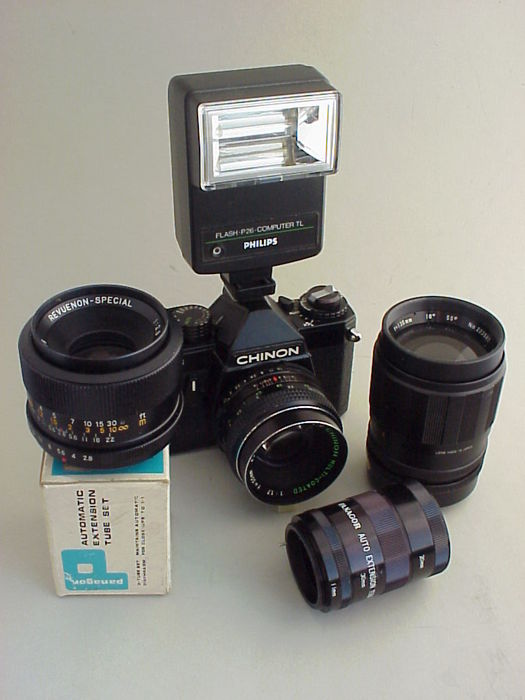 Single-lens reflex camera Chinon CE-3 Memotron + Chinon standard