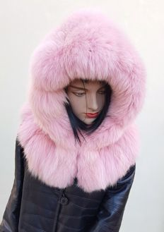 Pink fox fur hood/hat (Made in Italy)