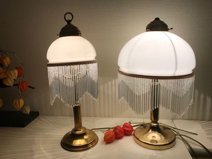 Vintage copper table lamps with white glass shades with italian vintage copper table lamps with white glass shades with italian glass icicles 1960s aloadofball Gallery