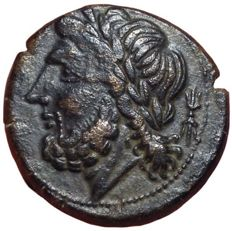 Greek Antiquity - Northern Apulia, Arpi c. 325-275 BC - Æ (Bronze, 21mm, 8.15gm.) - Head of Zeus / Boar - SNG ANS 635; Historia Numorum Italy 642