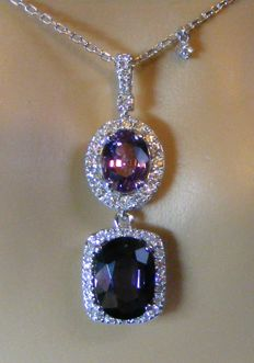 Gold necklace measuring 42 cm in length, composed of unheated exceptional purple VVS1 sapphire, 100% natural VVS1 spinel and diamonds totalling 6.06 ct - 2 GIA certificates - No reserve price.