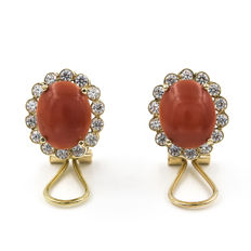 Gold 18 kt  - Earrings - Pacific Coral - Diameter 12.85 mm