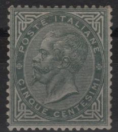 Kingdom of Italy 1863 - 5 cent. greenish-grey, London print run - Sass. No.  L16