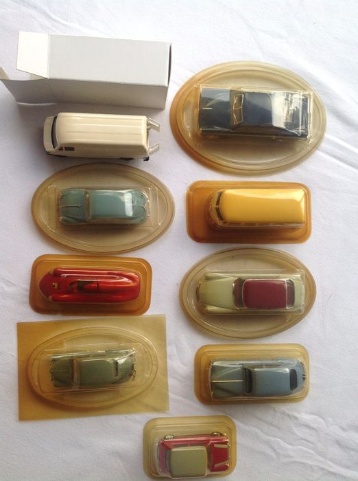 Solido - Scale 1/43 - Lot with 9 models: Mini, Citroen, Fiat, Renault, Citroen, Tucker, VW & Mercedes-Benz