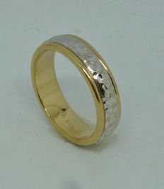 14k yellow and white gold wedding ring - size 54,5