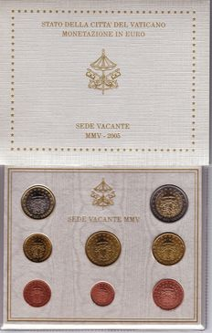 Vatican - 2005 - Sede Vacante - Set of 8 coins from 1 cent to €2