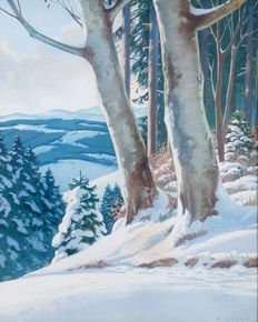 K.Gernik ( 20th century) - Forest road under snow