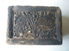 Medieval fireplace stone with floral image 14 x 10 x 5.8 cm