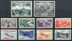 France 1947/54 – Airmail – Yvert no. 20, 24/27, 29, 30/33