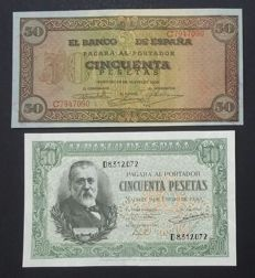 Spain - 2 x 50 pesetas 1938 and 1940 - Pick 114 and Pick 117
