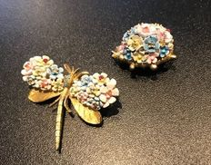 2x early butterfly and bug brooch with crystals and enameled flowers very rare
