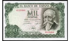 Spain - 1,000 Pesetas 1971 - José Echegaray - WITHOUT SERIES - Pick 154
