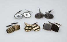5 antique cufflinks, silver/tombac, gold-plated