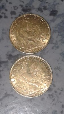 France - 10 francs 1906/1910 'Rooster' (lot of 2 coins) - gold