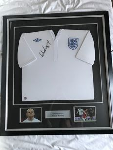 Wayne Rooney personally signed England Home shirt 2011-12, in a beautiful frame including certificate of authenticity (COA) and autograph moment