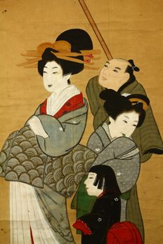 "Hanging scroll - ""Ukiyo-e style beauties"" - Japan - Early 20th century (Meiji period) w/box"
