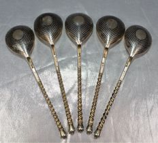 Set of five Russian nielloed spoons, Moscow 1863, Alexander II era