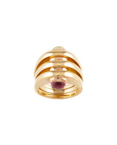 Authentic Bulgari Peridot and Pink Tourmaline Ring in 18K Yellow gold