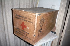 WW2 Red Cross ONLY THE BOX!! of 4x prisoners of war food packages No. 10 from June 1944