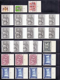 Belgium 1949/1962 - Collection of stamps sorted by plate numbers, on black, plastic album sheets