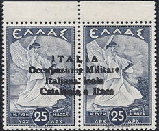 Kefalonia and Ithaca, Italian Military Occupation, 1941 – 25-25 drachma, hand-printed overprint from Argostoli – Sass. No.  68