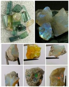 Collection of natural crystals opal, moonstone & tourmaline - 105 ct