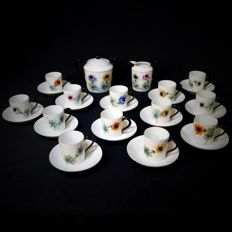Handpainted Limoges porcelain coffee service decorated with anemones