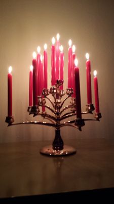 Designer unknown - stylish heavy silver plated tree candlestick for 17 candles