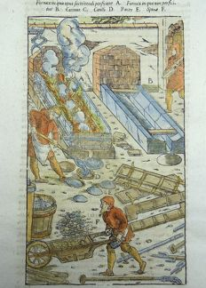 Mining; Georgius Agricola - 1 large woodcut in hand colour to one folio leaf - Transporting ore; Furnace. Fornax - ca 1580