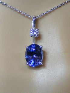 18 kt gold necklace and pendant with natural IF tanzanite of 3.72 ct and 1 large diamond of 0.23 ct - Length 40 cm - 2 certificates GIA + LFG - No reserve price