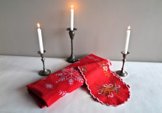 Cotton Christmas tablecloth and Christmas runner, art nouveau tin candle holder and set of silver tin candlesticks