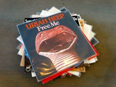 Uriah Heep (Hensley / Byron) lot of 17 (!) original 45's - Includes many MONO/STEREO US promo singles and some rare picture sleeve 45's too