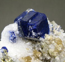Beautiful Deep Blue Lazurite crystals with Pyrite -7.3 x 4.7 x 6 cm - 202gr