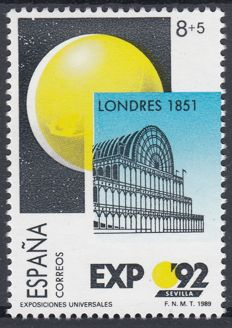 Spain 1989 - Expo Sevilla 92. Variety: Lacking sky blue colour, shifted colours - Edifil 2990ef/dv