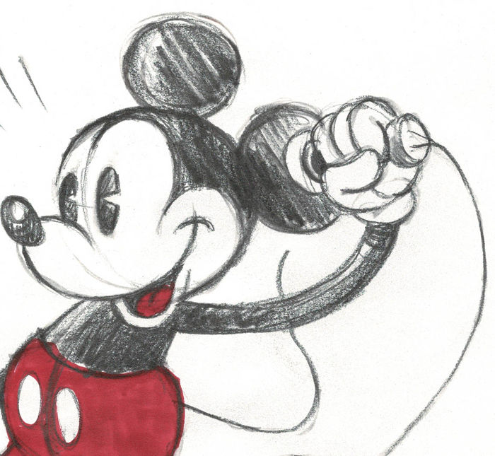 Fernandez Tony Original Drawing Vintage Mickey Mouse With Phone