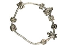 925/1000 silver bracelet with various charms. - length x width: 21 x 0.3 cm