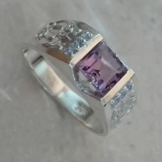 1.70cts Amethyst & Aquamarines Silver Men's Ring, Ring Size : US: 11
