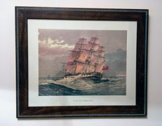 Engraving of ship framed years 60s/70s