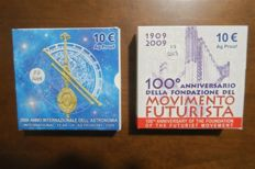 Italy - 10 Euro 2009. 100th anniversary of the Futurist Movement + International Year of Astronomy - Silver