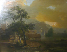 Albrecht Mejiering (attributed) - Rural landscape in the morninglight,