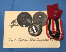 WW II Original Third Reich Lot: Invitation, Ribbons, and Medal