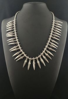 Antique silver necklace - Himachal Pradesh (India), early 20th century