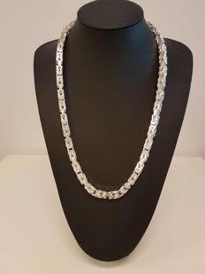 Silver Byzantine link necklace, 925 kt Weight: 238 g, length: 66 cm, width: 8 mm