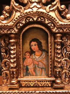 "Hand Carved Retablo Final 19th/early 20th Century Cuzco Colonial School ""Virgin with Child"" ."