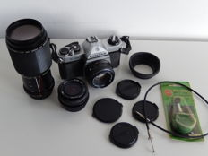 Complete Asahi Pentax K1000 set - including 2 lenses and case and accessories