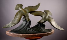 """Dautrive - Sculpture in bronze on marble """"The Seagull on the waves"""" - Art Deco"""